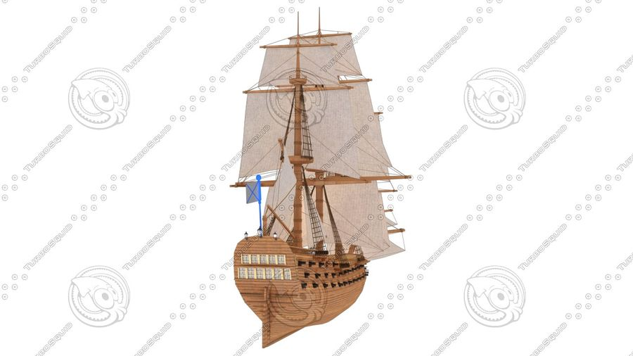 Rosyjski statek liniowy 1774 royalty-free 3d model - Preview no. 6