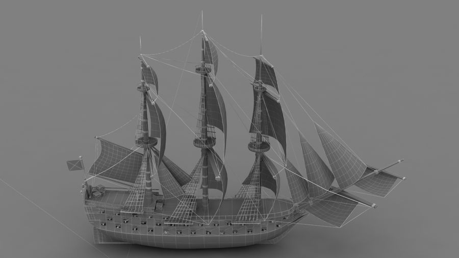 Rosyjski statek liniowy 1774 royalty-free 3d model - Preview no. 8