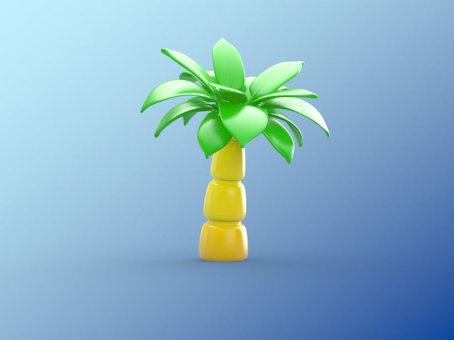 inflatable palm tree royalty-free 3d model - Preview no. 2