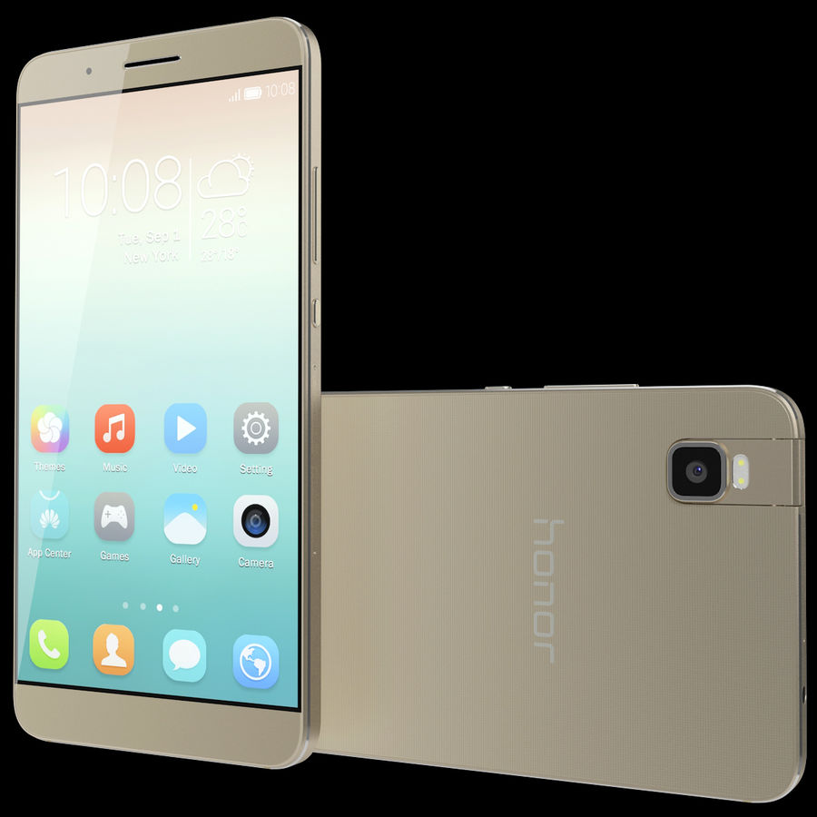 Huawei Honor 7i Gold royalty-free 3d model - Preview no. 2