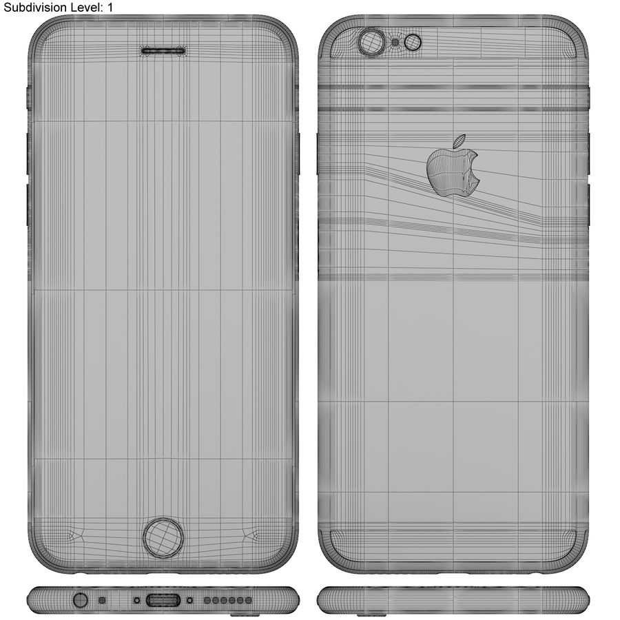 Apple iPhone 6s Złoty royalty-free 3d model - Preview no. 20