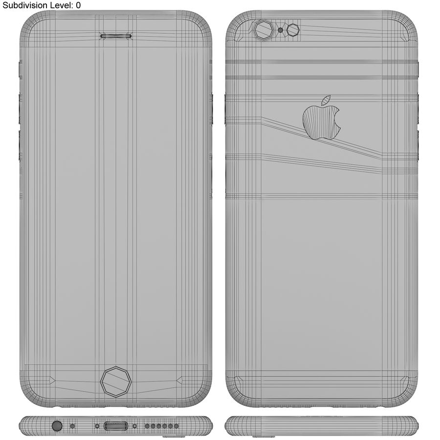 Apple iPhone 6s Złoty royalty-free 3d model - Preview no. 19