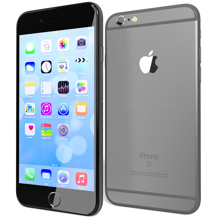 Apple iPhone 6s Space Grey royalty-free 3d model - Preview no. 5