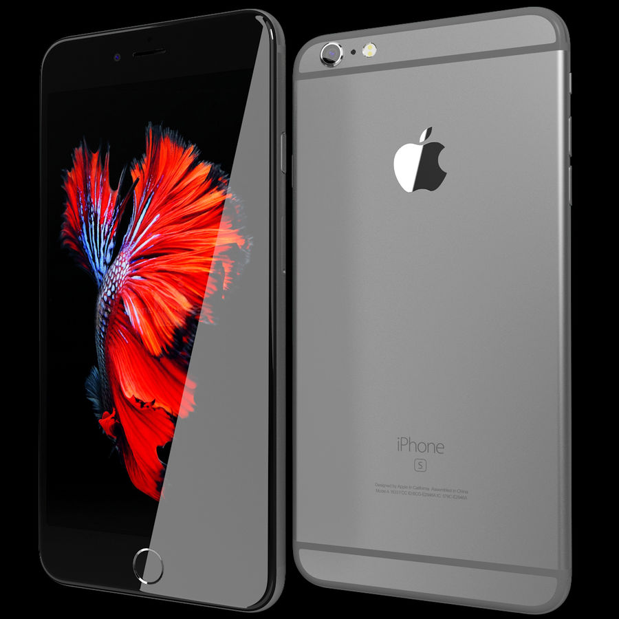 Apple iPhone 6s Plus Space Grey royalty-free 3d model - Preview no. 2