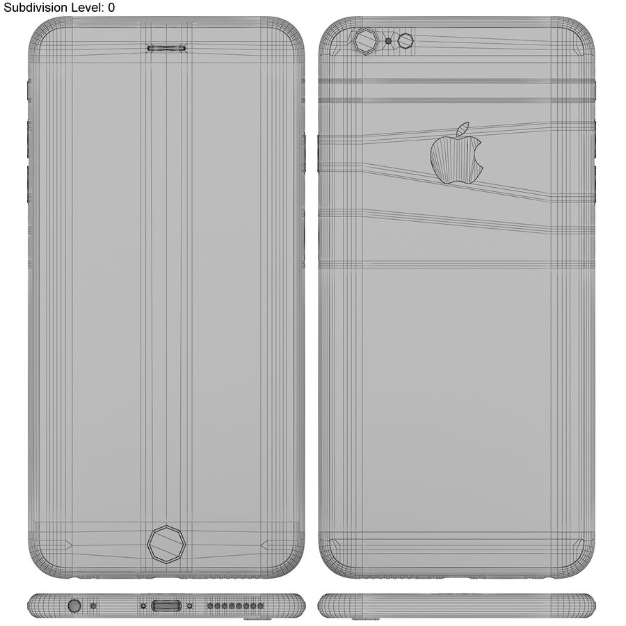 Apple iPhone 6s Plus Space Grey royalty-free 3d model - Preview no. 19