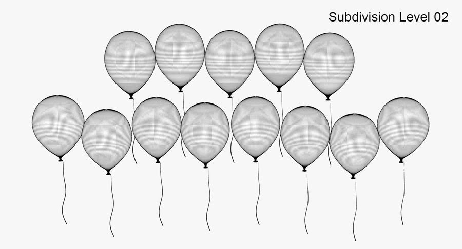 Ballons - Joyeux Anniversaire royalty-free 3d model - Preview no. 10