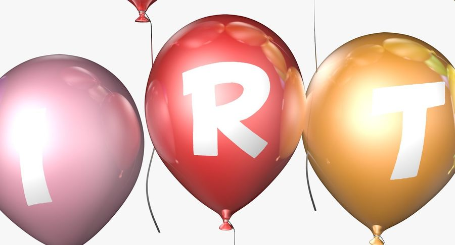 Ballons - Joyeux Anniversaire royalty-free 3d model - Preview no. 4