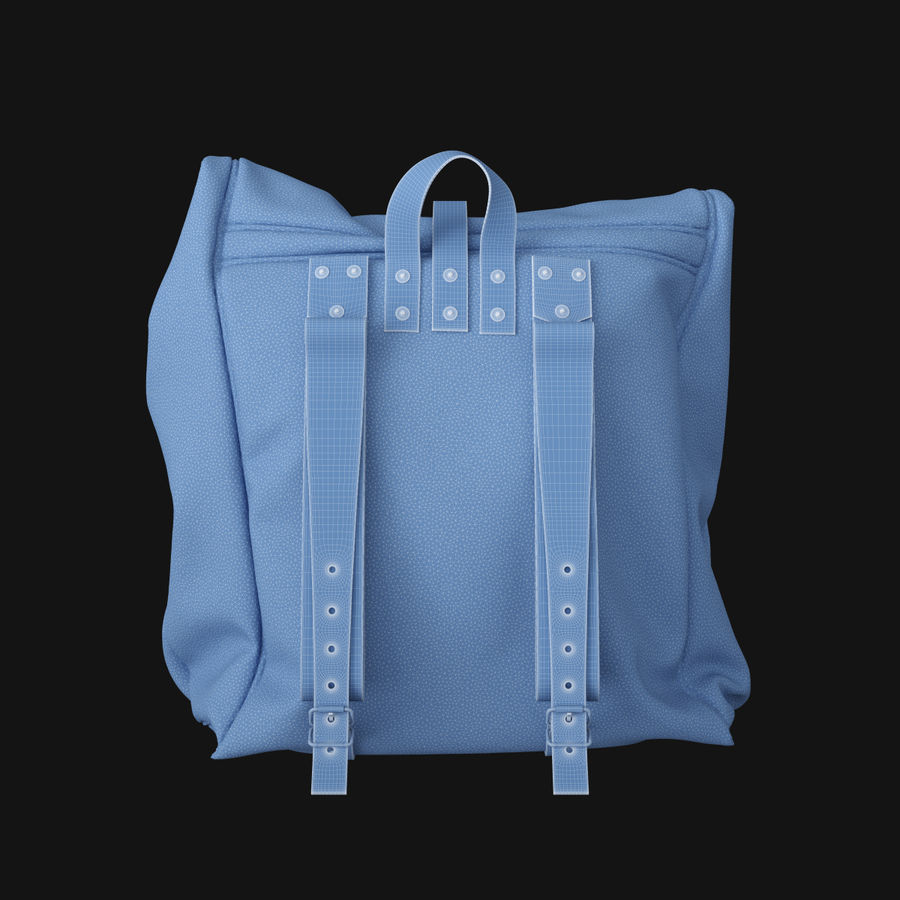 Backpack Canvas Bag royalty-free 3d model - Preview no. 10