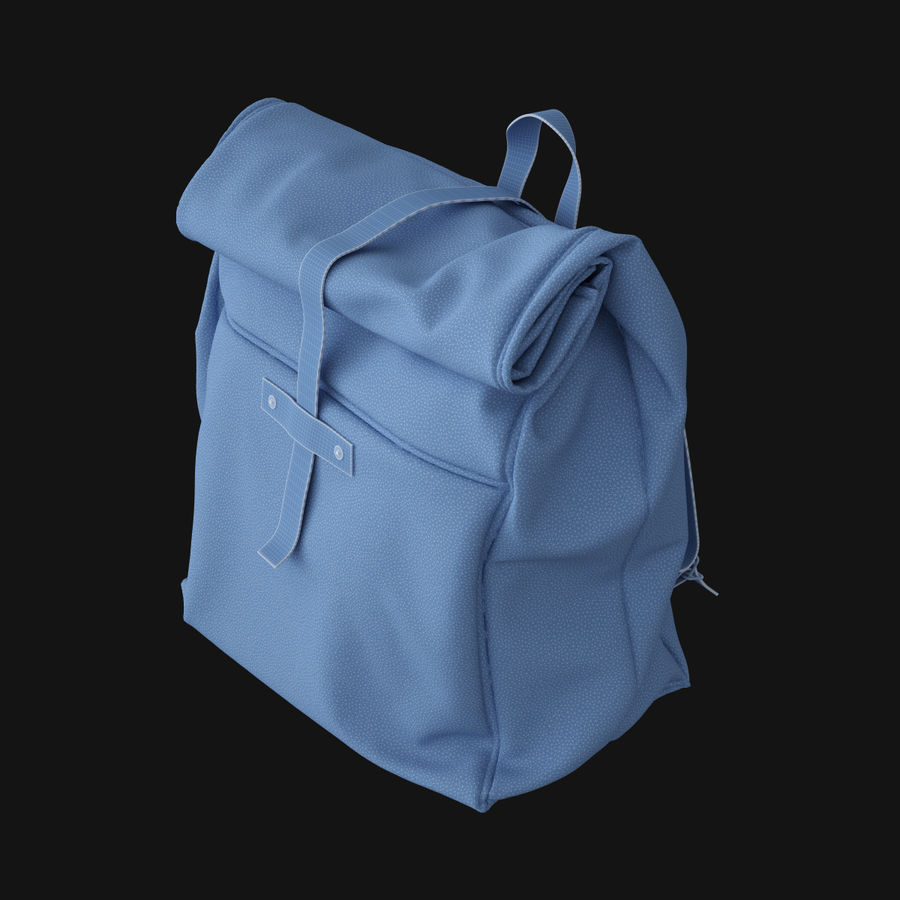 Backpack Canvas Bag royalty-free 3d model - Preview no. 8