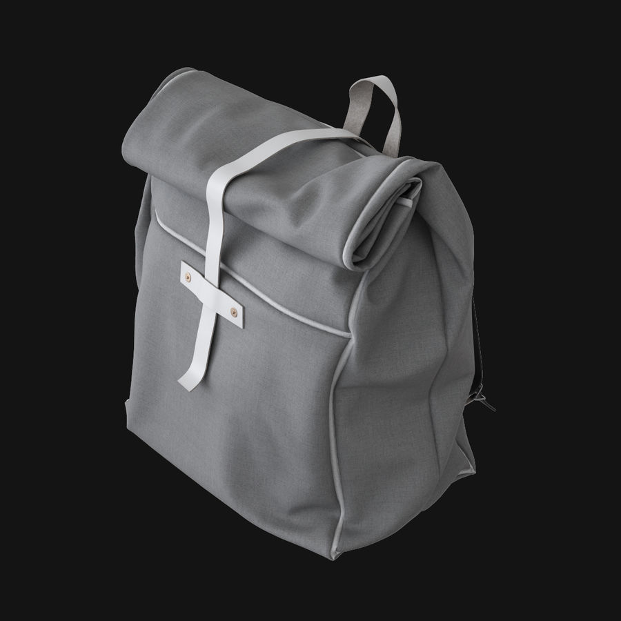Backpack Canvas Bag royalty-free 3d model - Preview no. 2
