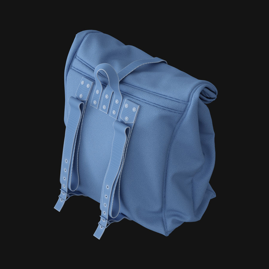 Backpack Canvas Bag royalty-free 3d model - Preview no. 9