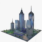 Bloco de cidade em azulejo moderno 3d model