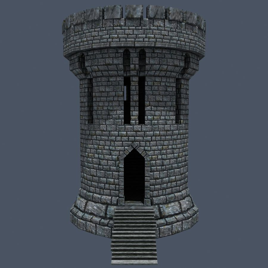 Medieval Fantasy Castle Tower_05 royalty-free 3d model - Preview no. 3