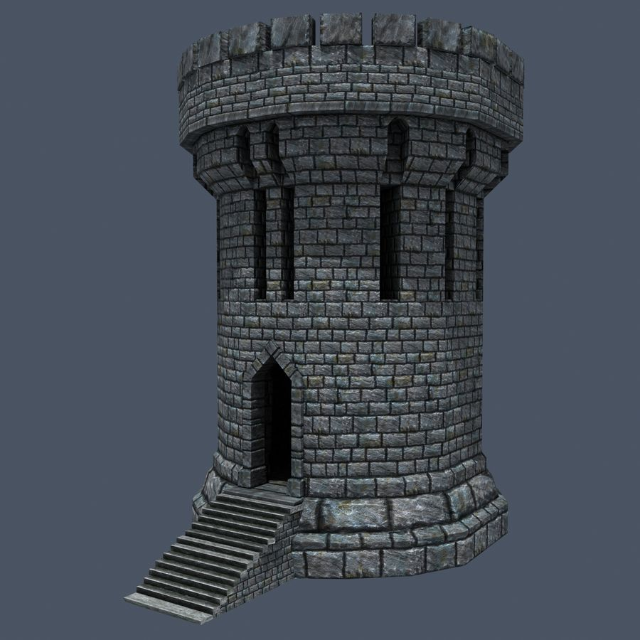 Mittelalterlicher Fantasy Castle Tower_05 royalty-free 3d model - Preview no. 4