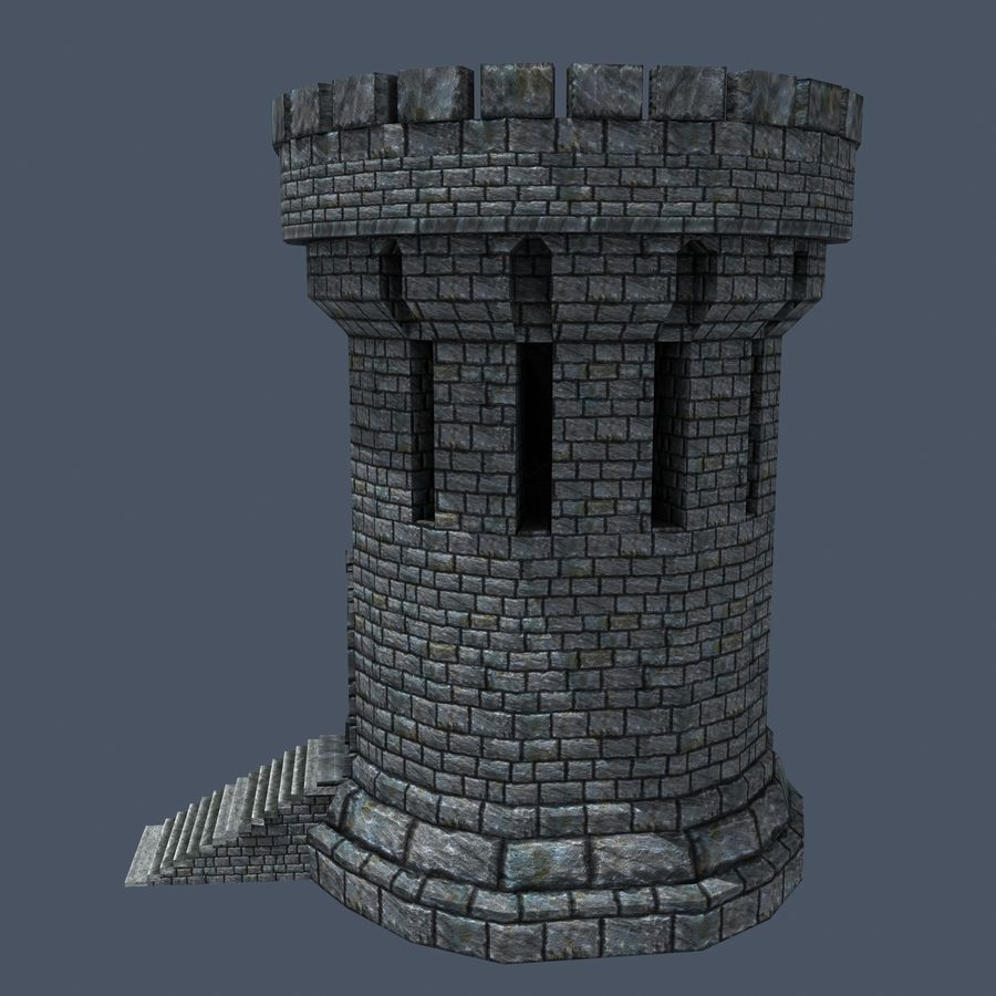 Medieval Fantasy Castle Tower_05 royalty-free 3d model - Preview no. 5