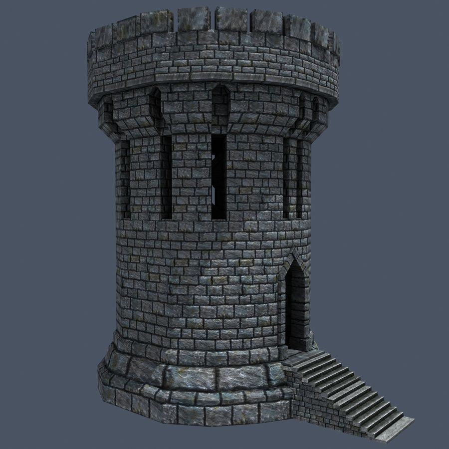Medieval Fantasy Castle Tower_05 royalty-free 3d model - Preview no. 2