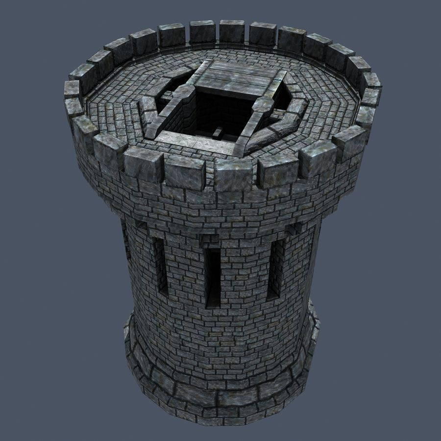 Mittelalterlicher Fantasy Castle Tower_05 royalty-free 3d model - Preview no. 8
