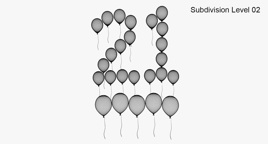 Balloons - 21 Today royalty-free 3d model - Preview no. 10