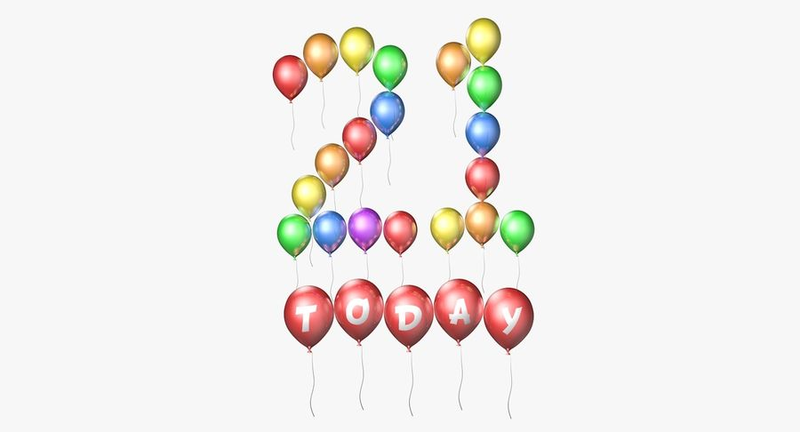 Balloons - 21 Today royalty-free 3d model - Preview no. 2