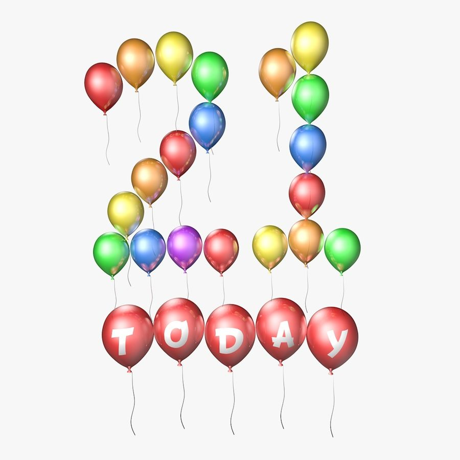 Balloons - 21 Today royalty-free 3d model - Preview no. 1