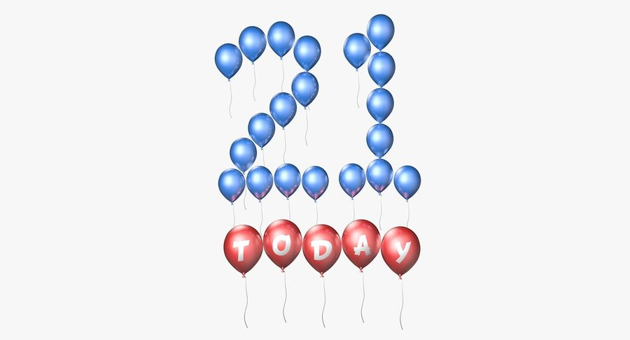 Balloons - 21 Today royalty-free 3d model - Preview no. 8