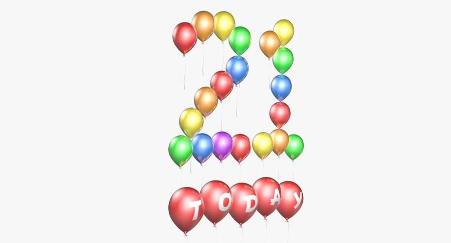 Balloons - 21 Today royalty-free 3d model - Preview no. 5