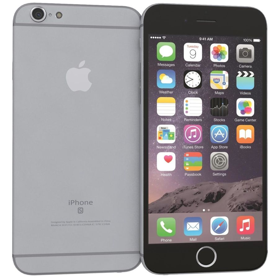 Apple iPhone 6s Space Gray royalty-free 3d model - Preview no. 3