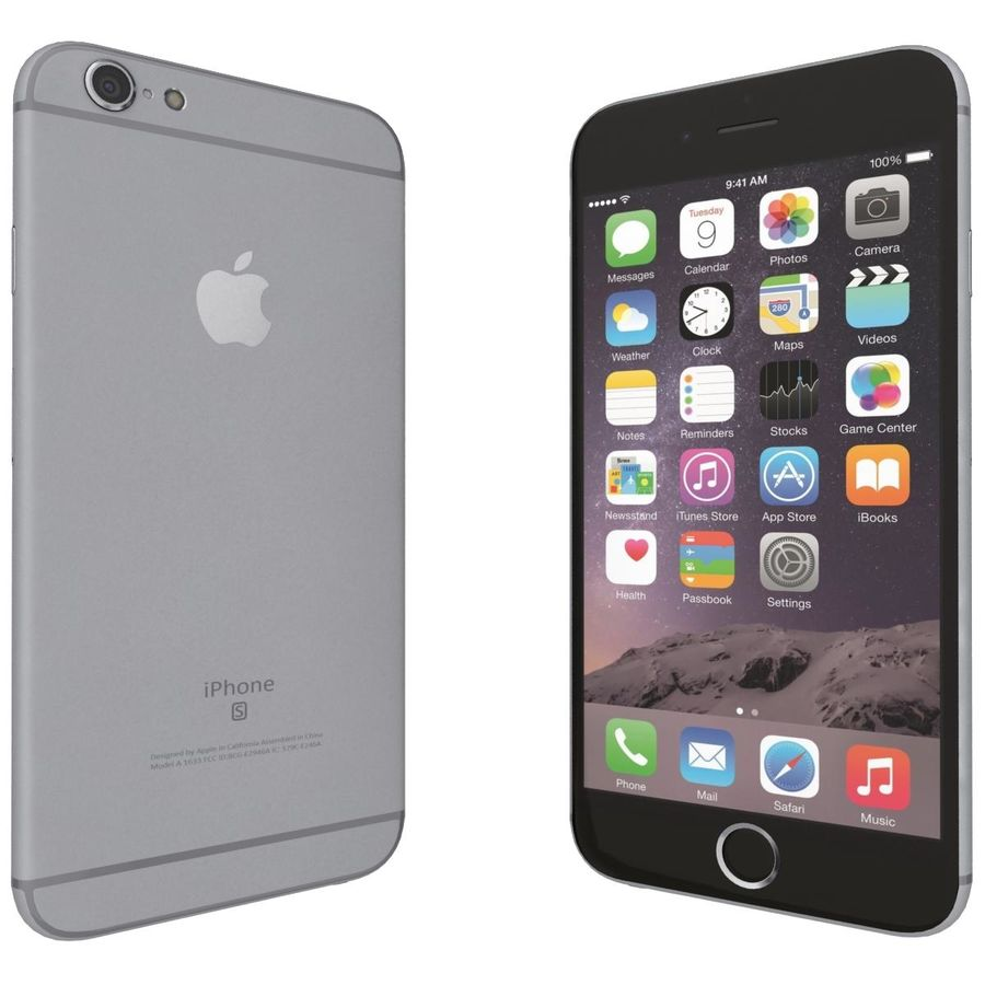 Apple iPhone 6s Space Gray royalty-free 3d model - Preview no. 6