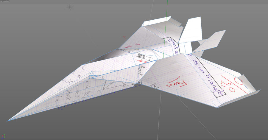 Avião de papel royalty-free 3d model - Preview no. 7