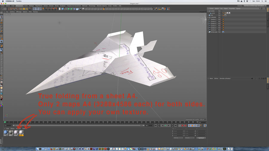 Avião de papel royalty-free 3d model - Preview no. 6