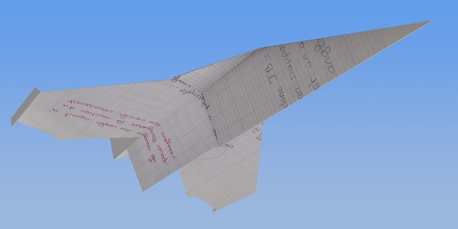 Avião de papel royalty-free 3d model - Preview no. 3