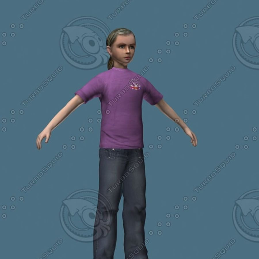 Menina de 12 anos (alta poli) royalty-free 3d model - Preview no. 1