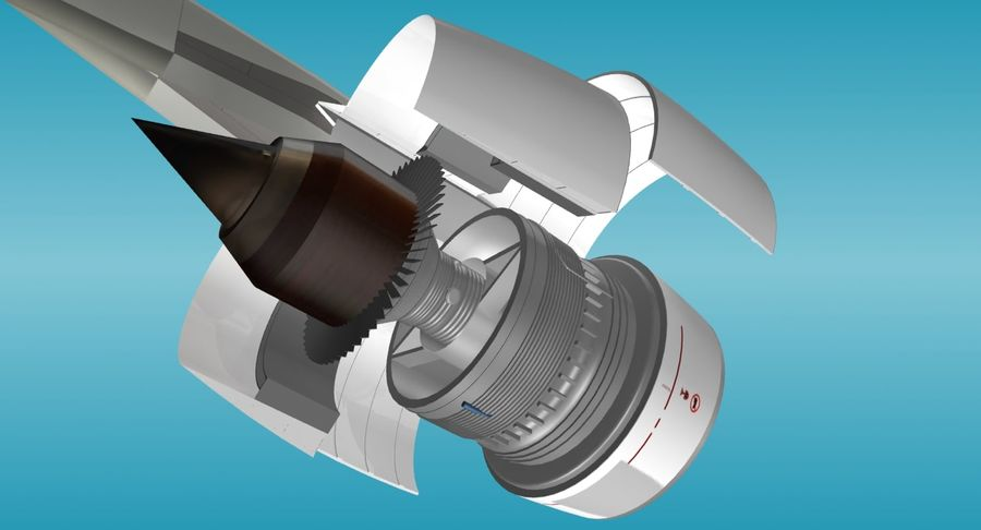 Generic Aircraft Engine royalty-free 3d model - Preview no. 6