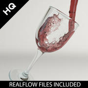 wijn gieten realflow 3d model