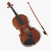 바이올린과 활 3d model