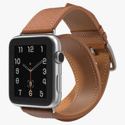 Apple Watch Hermes 42mm Double Tour Stainless Steel Case Leather Band 3d model