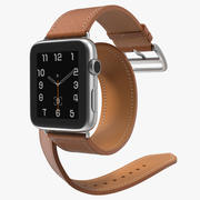 Apple Watch Hermes 42 Double Tour Stainless Steel Case Leather Band 2 3d model