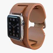 Apple Watch 헤르메스 커프 42mm 스테인리스 스틸 케이스 가죽 밴드 3d model