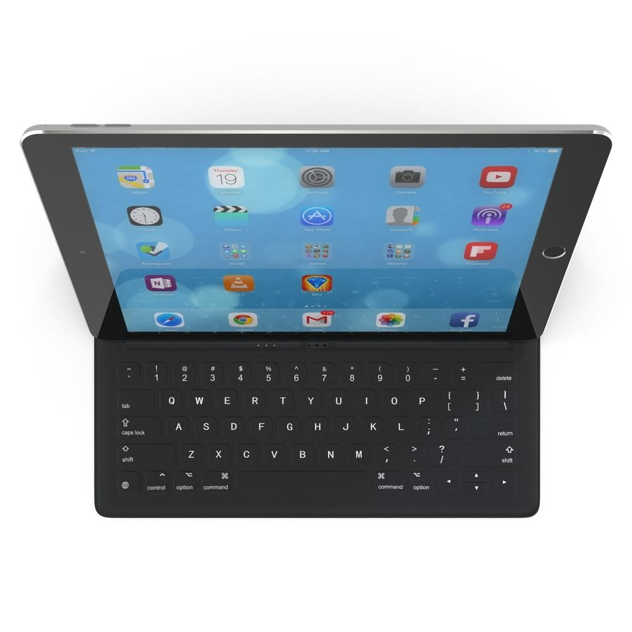 Ipad Pro 및 Apple Smart Keyboard royalty-free 3d model - Preview no. 3