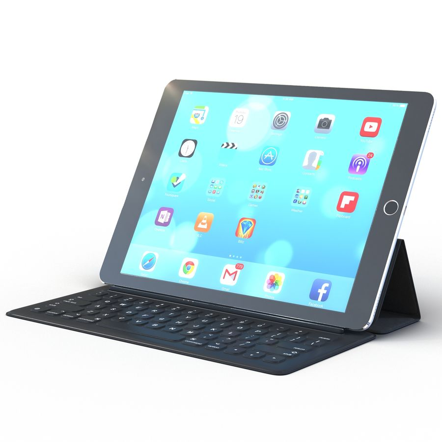 Ipad Pro 및 Apple Smart Keyboard royalty-free 3d model - Preview no. 2