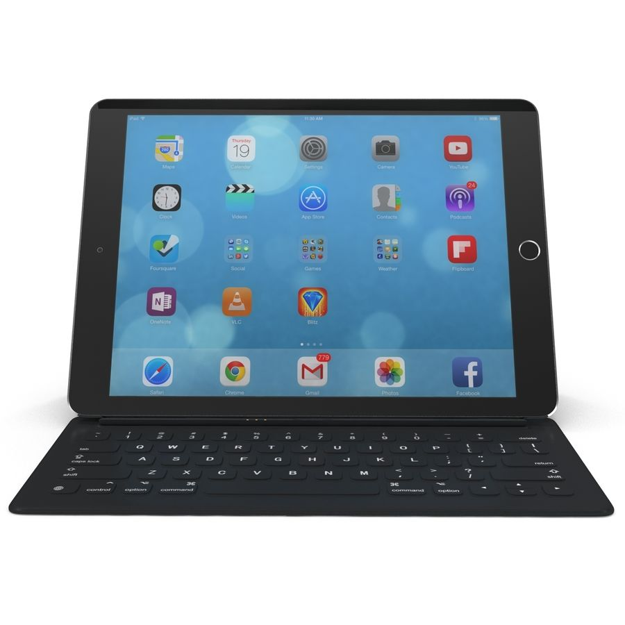 Ipad Pro 및 Apple Smart Keyboard royalty-free 3d model - Preview no. 4