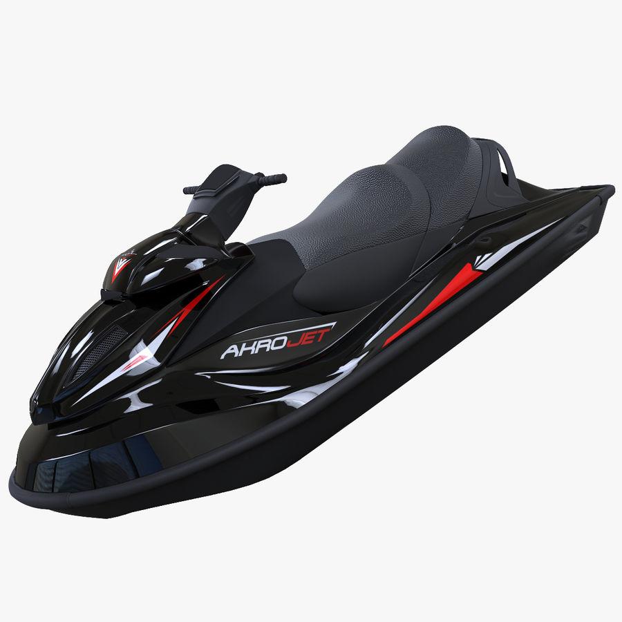 Black Jet Ski Akrojet royalty-free 3d model - Preview no. 1