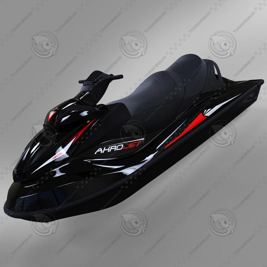Black Jet Ski Akrojet royalty-free 3d model - Preview no. 2