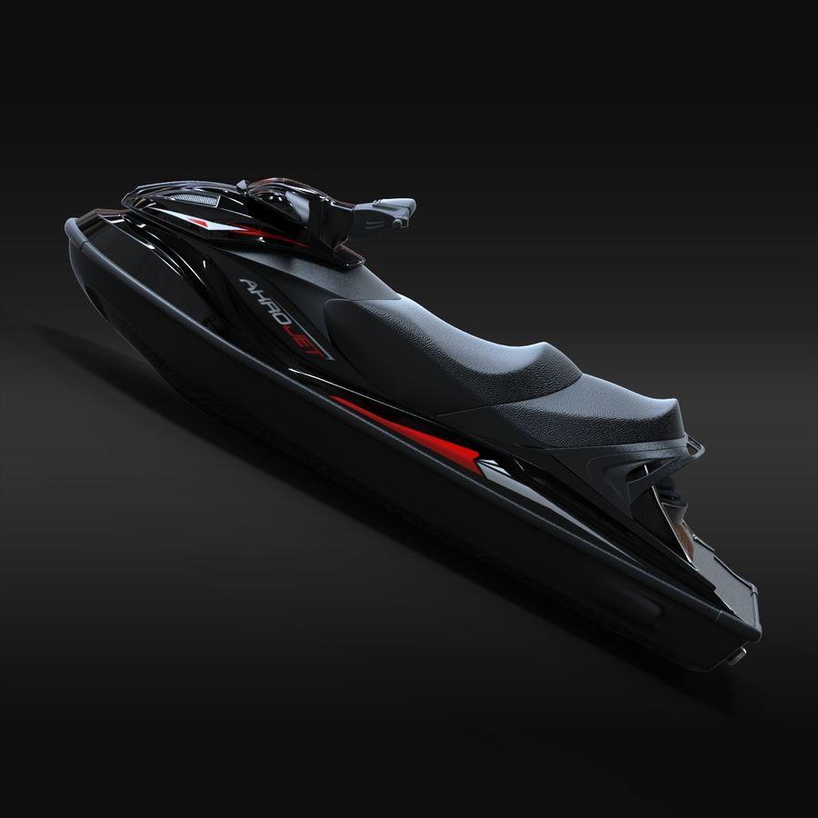 Black Jet Ski Akrojet royalty-free 3d model - Preview no. 4