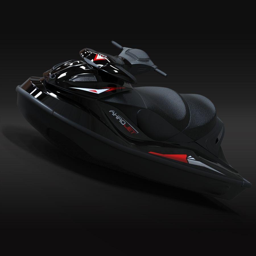 Black Jet Ski Akrojet royalty-free 3d model - Preview no. 3