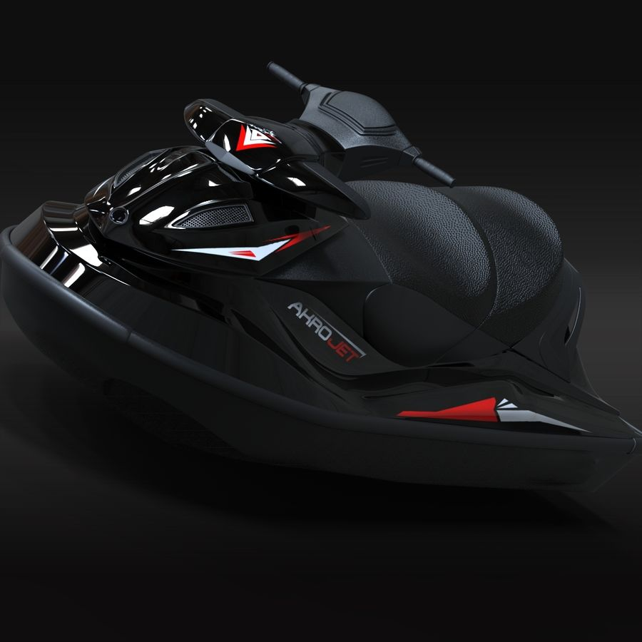 Black Jet Ski Akrojet royalty-free 3d model - Preview no. 5