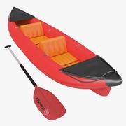 Kajak 3 röd med paddla 3d model