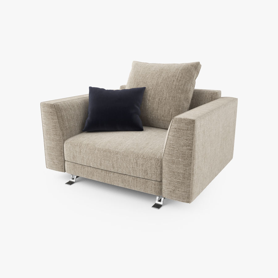 Busnelli Burton fauteuil royalty-free 3d model - Preview no. 2