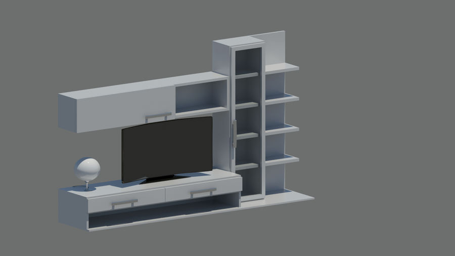 TV furniture royalty-free 3d model - Preview no. 7