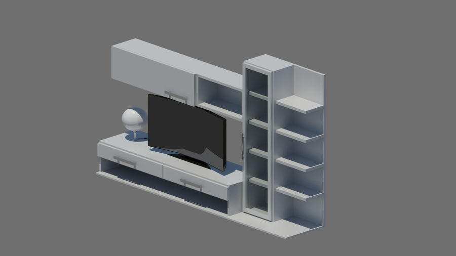 TV furniture royalty-free 3d model - Preview no. 3